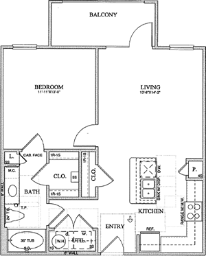 A1(a) - One Bedroom / One Bath - 713 Sq. Ft.*
