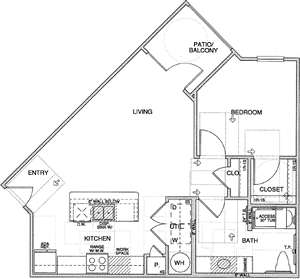 A2(ADA) One Bedroom / One Bath - 724 Sq. Ft.*