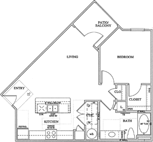 A2(a) One Bedroom / One Bath - 724 Sq. Ft.*