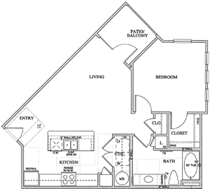 A2Bb) One Bedroom / One Bath - 737 Sq. Ft.*