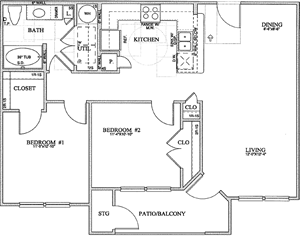 B1(a) - Two Bedroom / One Bath - 952 Sq. Ft.*